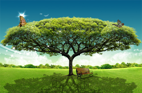 Landscape trees, grass umbrella mood PSD layered material