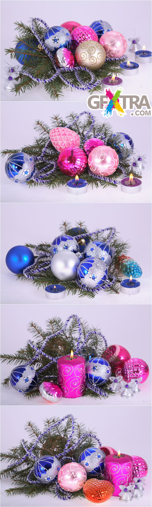 Christmas Ornaments 2 - Photo Cliparts - Balloons, Christmas Tree Branches, Candles