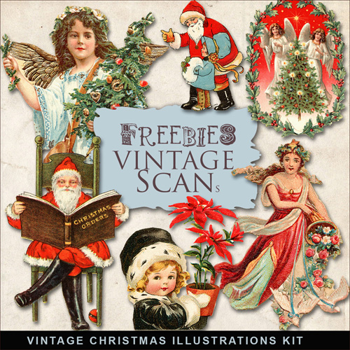 Scrap-kit - Christmas And New Year 2012 Illustrations - Vintage Style Images