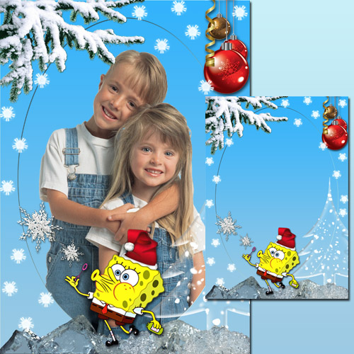 New Year Frame - SpongeBob and snowflakes