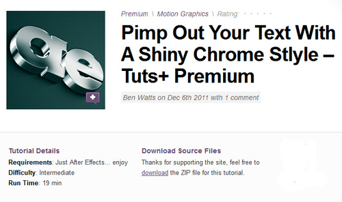 AE Tuts+ Pimp Out Your Text With A Shiny Chrome Stlyle