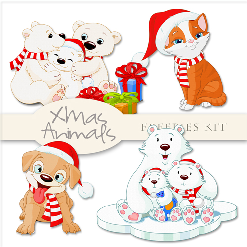 Scrap-kit - Christmas And New Year 2012 Animals PNG Cliparts