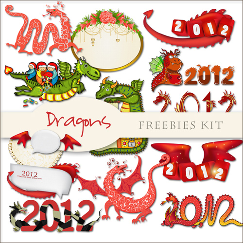 Scrap-kit - Christmas And New Year Dragons Cliparts 2012