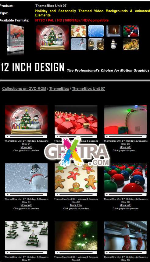 12 INCH Design - ThemeBlox Unit 07 Holiday and Seasonally Themed Animated Backgrounds & Animated Elements