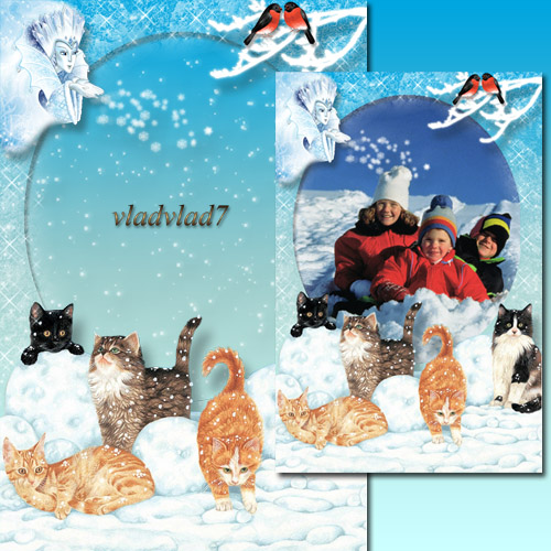 Winter Photoframe with cats - The Snow Queen