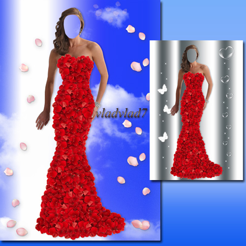Women's template for Photoshop – Dress made of petals of roses