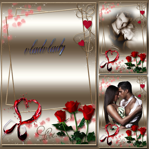 Romantic Photoframe with roses - Love's Wine