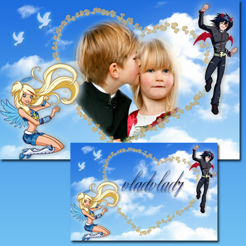 Childish Photoframe - Cartoon by Angel's Friends - Raf and Sulfus