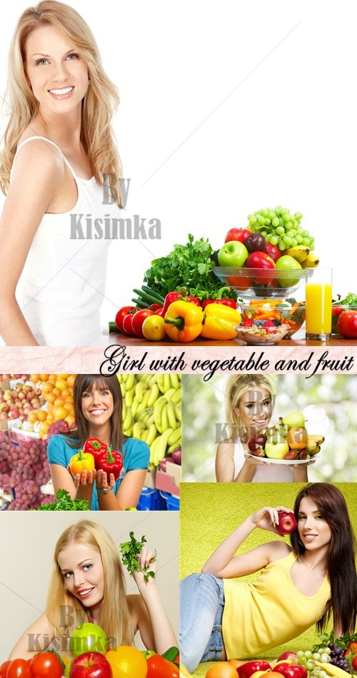 Stock Photo: Girl with Vegetable and Fruit, 5xJPGs