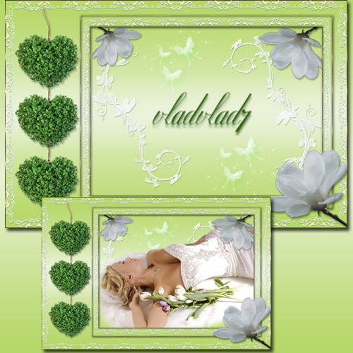 Photoframe with white flowers - Spring mood