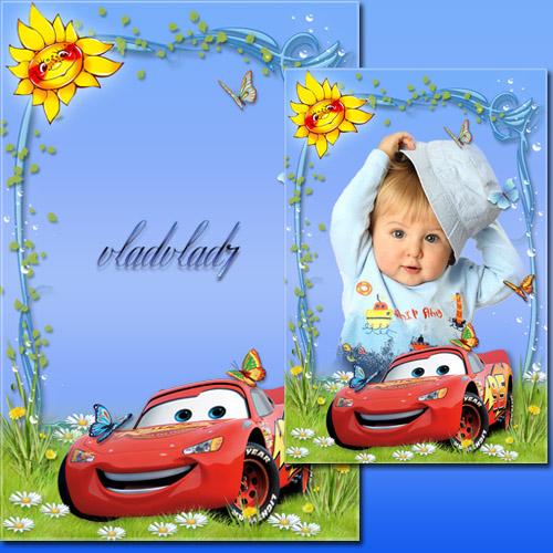 Otomobil ile Çocuk Photoframe - çim üzerinde