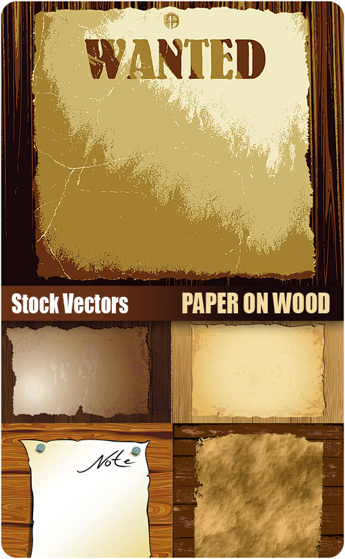Stock Vectors - Paper on wood