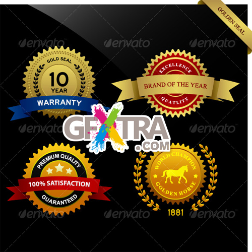 GraphicRiver: Warranty Guarantee Gold Seal Ribbon Vintage Award
