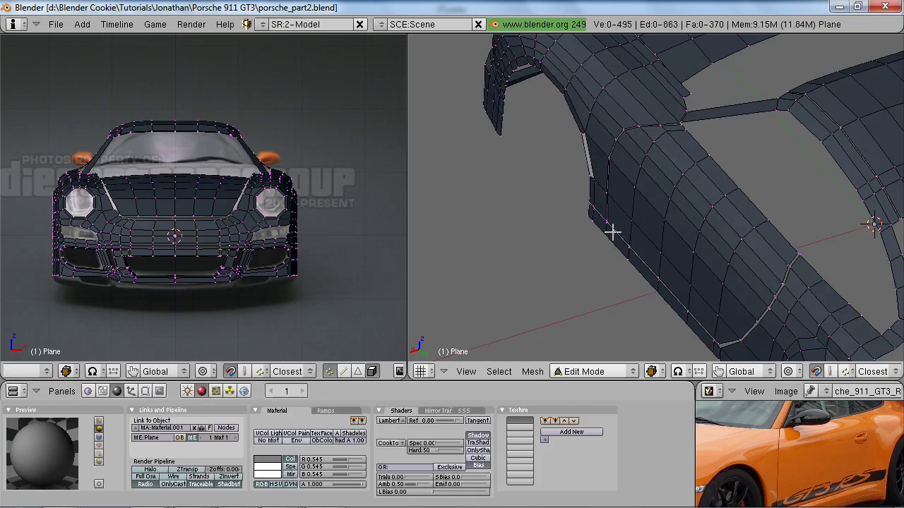 CGCookie - Modeling and Rendering a Porsche 911 GT3 RS in Blender