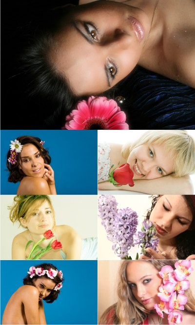Stock foto - Girls and flowers