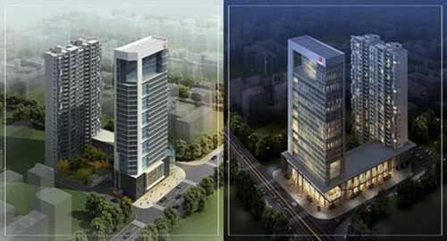 3ds Max Highrise Residential Building - Day & Night View