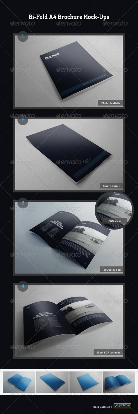 GraphicRiver: Bi-Fold A4 Brochure Mock-Ups
