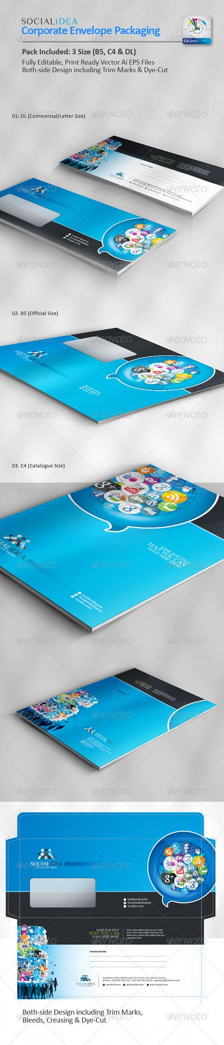 GraphicRiver - Socialidea Corporate Social Media Envelope Pack