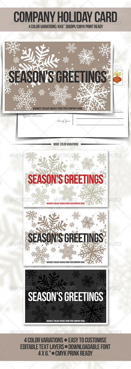GraphicRiver - Company Holiday Greeting Card / Postcard