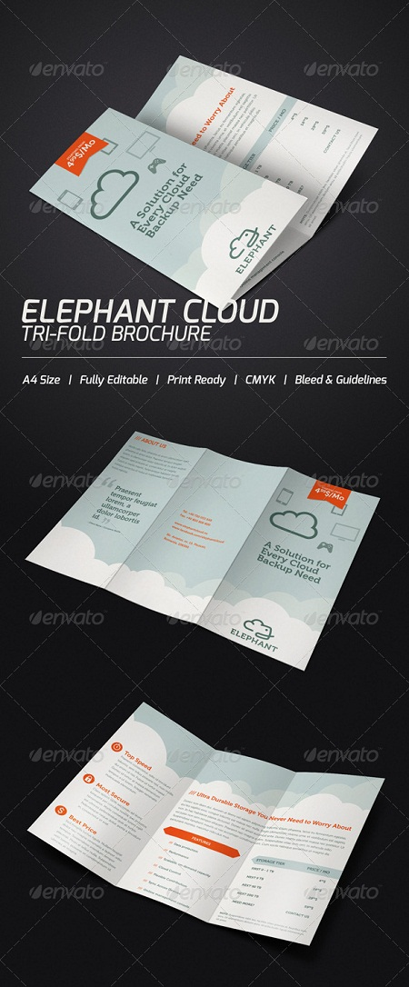 GraphicRiver - Elephant Cloud Tri-fold Brochure