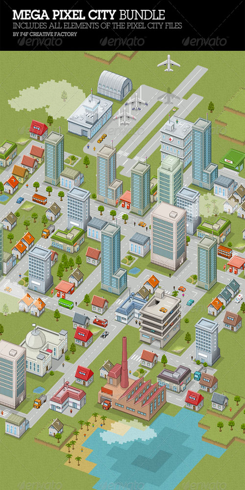 GraphicRiver - Mega Pixel City Bundle