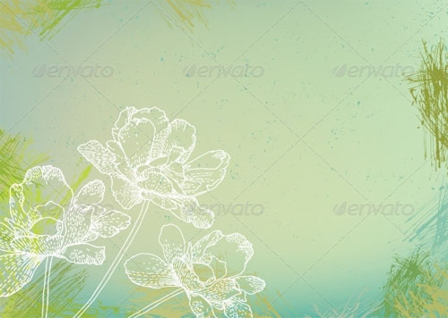 GraphicRiver - flowers over green watercolor brushstrokes
