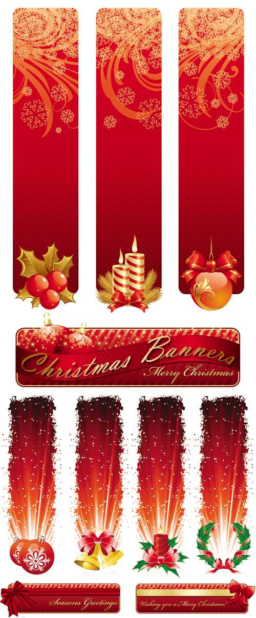 Red Christmas Banners Vector