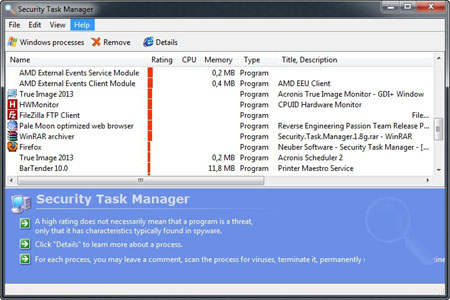 For each process, itcolor=red Security Task Manager 1.8g + Key