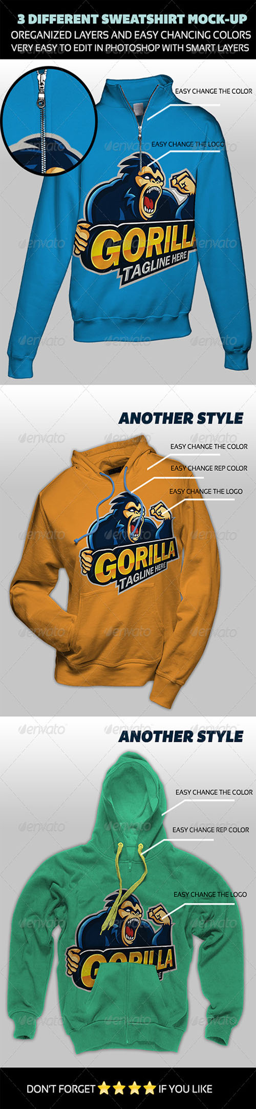 GraphicRiver - 03 Different Sweatshirt Mock-up