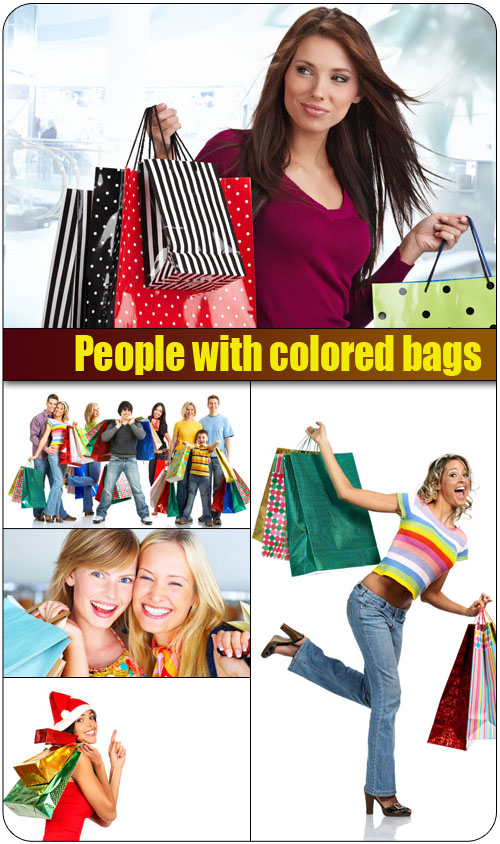 Stock Photo: People with colored bags 7 jpg | Up to 7500*4298 pix | 300 dpi