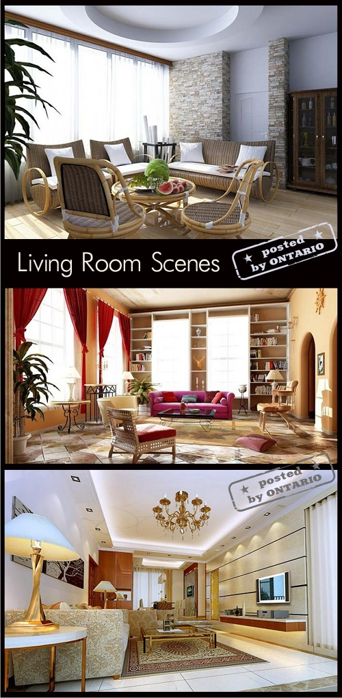 Living room Interiors Scenes for 3ds Max, part 8
