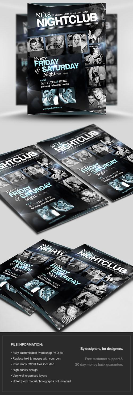 No.8 Nightclub Flyer/Poster PSD Template PSD, JPG, RTF