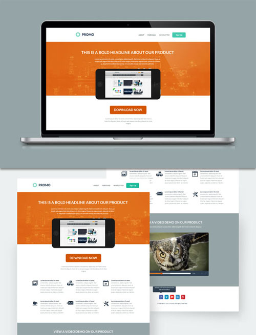 WeGraphics - Promo - Flat Style Landing Page PSD template
