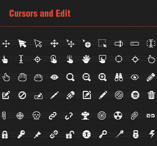 60 Vector Icons with Cursors and Edit