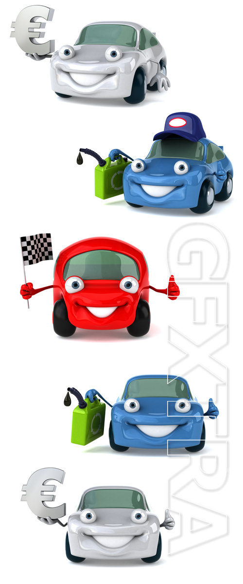 3D Color cars - Stock photo