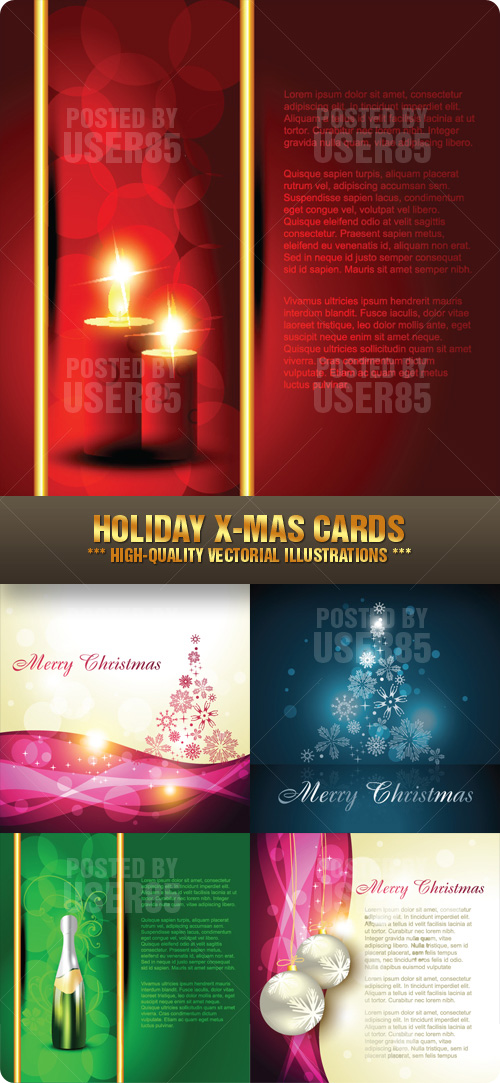 Stock Vector - Holiday X-Mas Cards