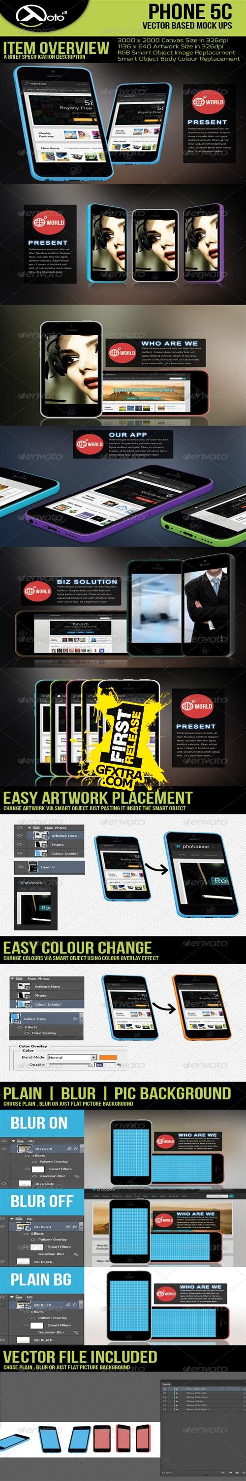 GraphicRiver - Phone 5c Vector Based Mock-up