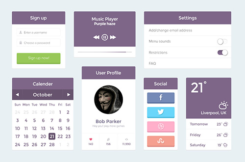 PSD Web Design - Purple UI Kit