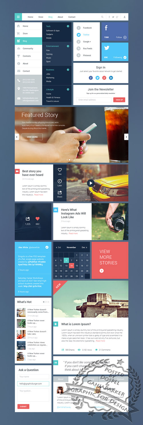 PSD Web Design - Blog / Magazine UI Kit #2