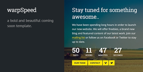 ThemeForest - Warpspeed - Responsive Coming Soon Page - RIP