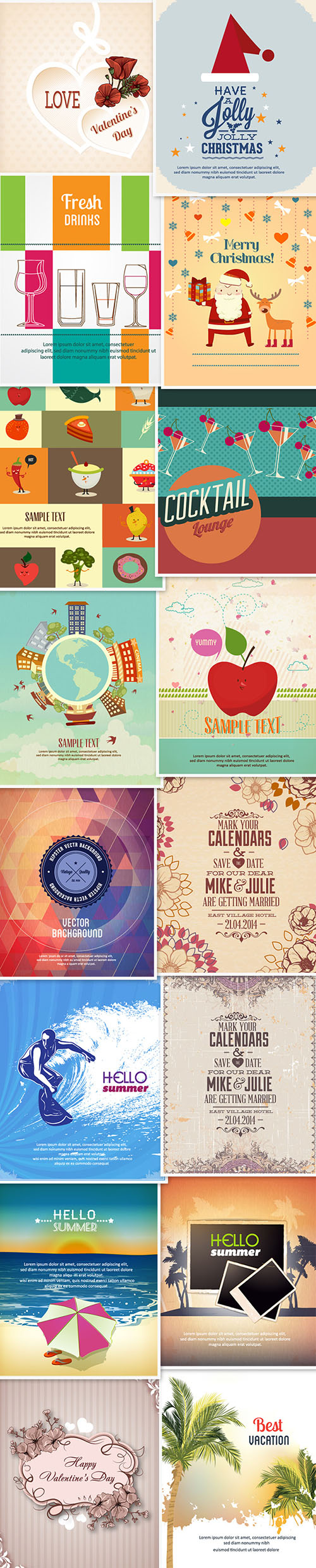 16 Vector Illustrations - Christmas, Valentines Day, Seasonal Holidays Posters