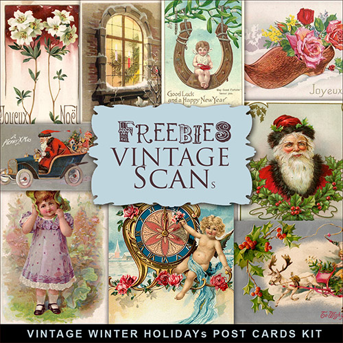 Scrap-kit - Vintage Winter Holliday's Post Cards Images