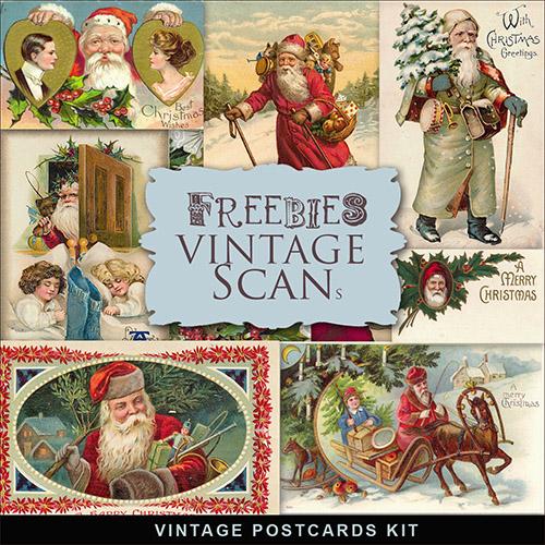 Scrap-kit - Vintage Xmas Post Cards 2