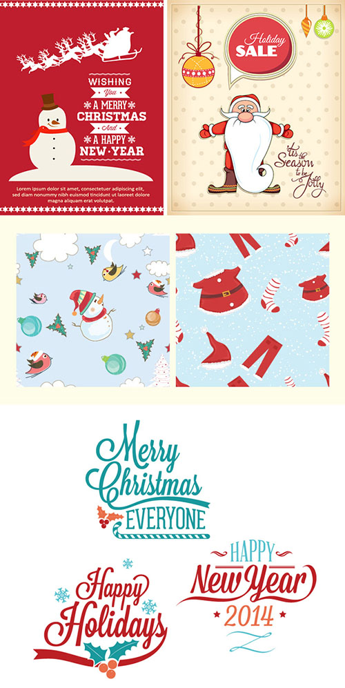 Christmas Typography Illustations - Winter Elements