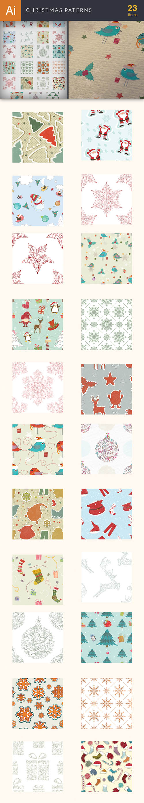 Vector Christmas Patterns Set - Winter Elements