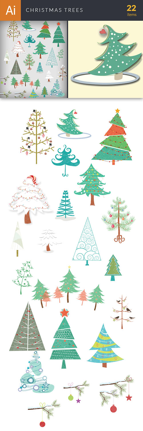 Vector Christmas Trees Set - Winter Elements
