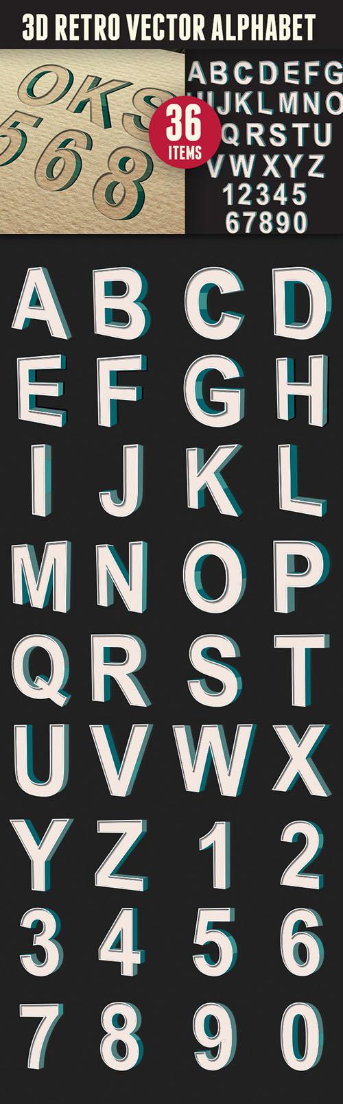 3D Retro Vector Alphabet