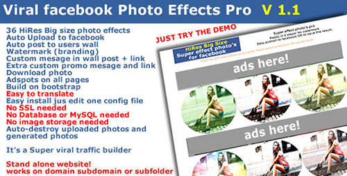 CodeCanyon - Viral Traffic Facebook Photo Effects Pro - RIP