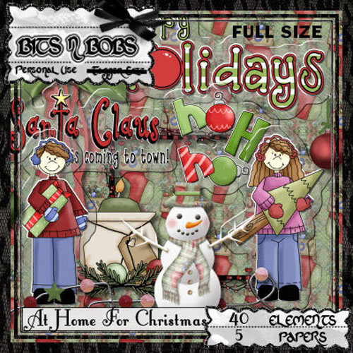 Scrap Set - At Home For Christmas PNG and JPG Files