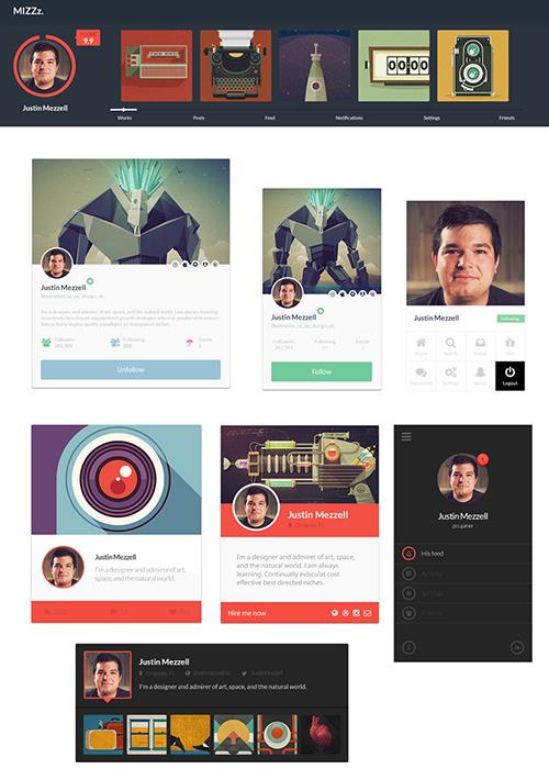 PSD Web Design - 7 Profile UI